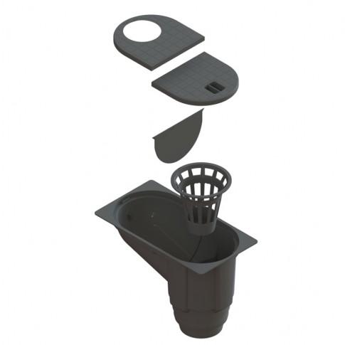 Kit camin scurgere burlan, negru, PP, A 15, 303 x 234 x 164 mm