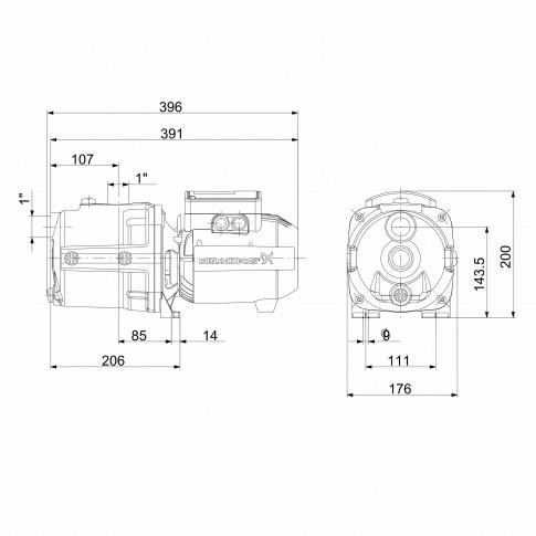 Pompa apa Grundfos JPA 4-47, 0.85 kW, corp fonta, Q max. 3.6 mc/h, H max. 47 m, 230 V