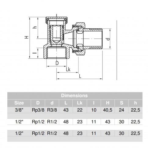 Robinet inchidere colt pentru calorifer, Valvex Vector, ZO-K-15, alb