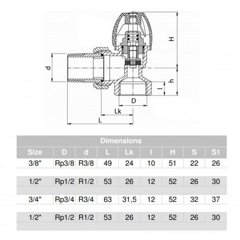 Robinet tur coltar pentru calorifer, Valvex Activ, F15-KS