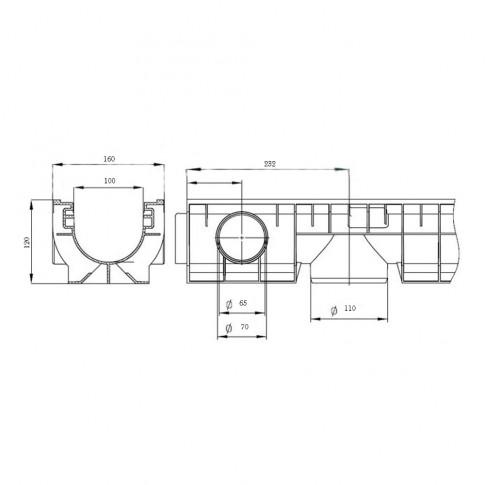 Rigola PP cu gratar din fonta ductila C250, 1000 x 160 x 120 mm
