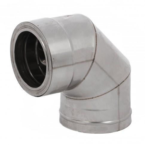 Cot fum 90 grade, izolat, inox, D 130 / 180 mm
