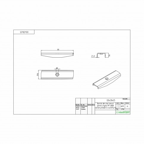 Bareta cu surub, pentru rigola PP DN 100 mm, 117 x 30 x 15 mm
