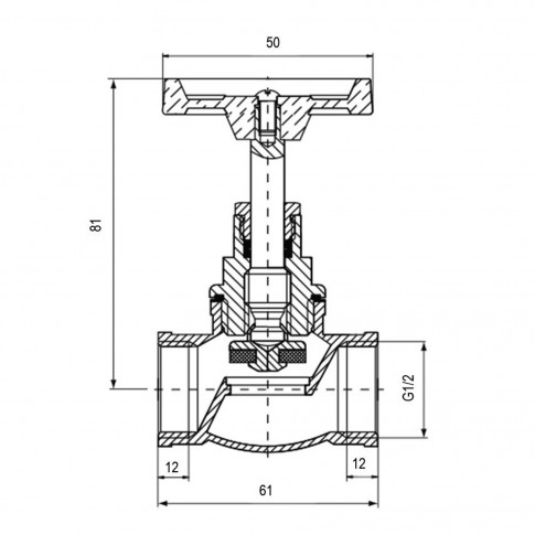 Robinet de trecere cu ventil Valvex Viking, fonta, filet interior-interior, DN 15, maner rozeta