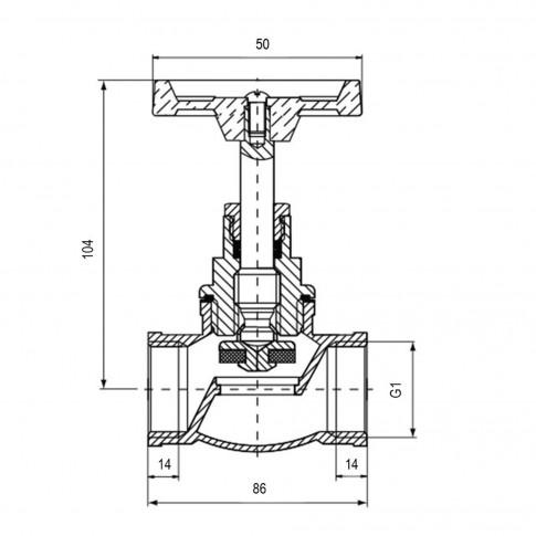 Robinet de trecere cu ventil Valvex Viking, fonta, filet interior-interior, DN 25, maner rozeta