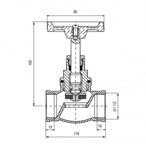 Robinet de trecere cu ventil Valvex Viking, fonta, filet interior-interior, DN 40, maner rozeta
