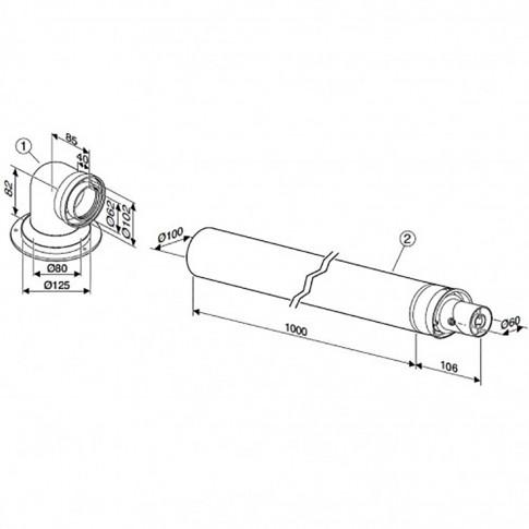 Kit evacuare condensare centrala termica Bosch, L 1000 mm, cu adaptor D=80/125 mm la D=60/100 mm
