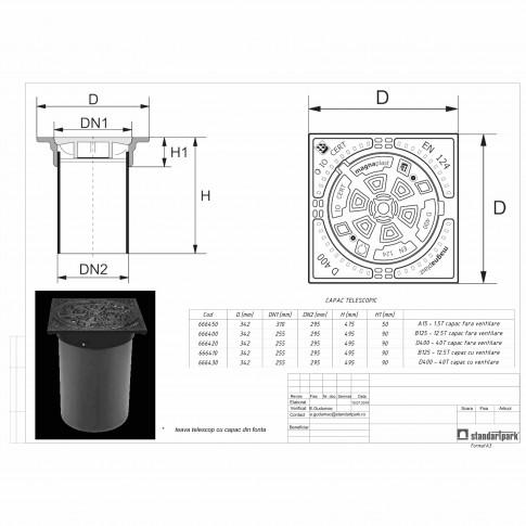 Gratar fonta B125, cu tub telescop D 315 mm