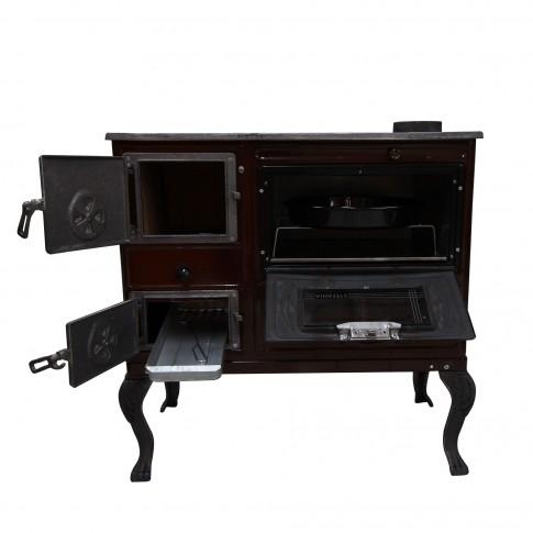 Soba tabla emailata, pe lemne, Stefania, varianta stanga, cu plita si cuptor, 800 x 800 x 430 mm