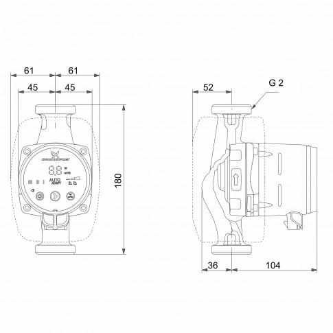 Pompa de circulatie Grundfos Alpha3 32-80 DE 180, H max. 8 m, Q max. 4 mc/h, PN 10, 230 V