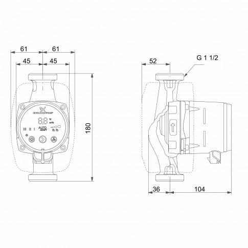 Pompa de circulatie Grundfos Alpha3 25-80 DE 180, H max. 8 m, Q max. 4 mc/h, PN 10, 230 V