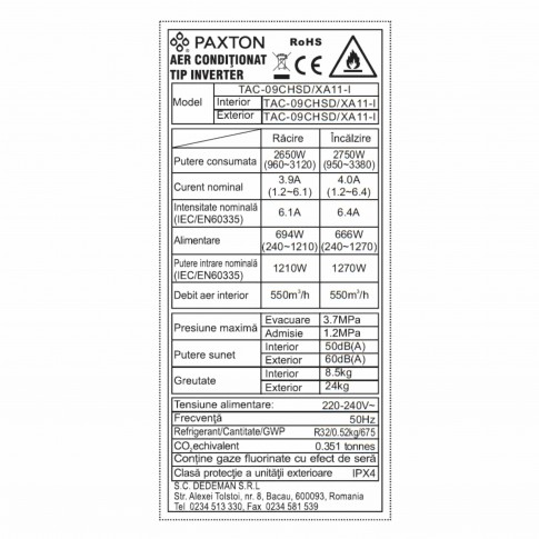 Aer conditionat inverter Paxton Wi-Fi 9000 BTU R32 + kit instalare