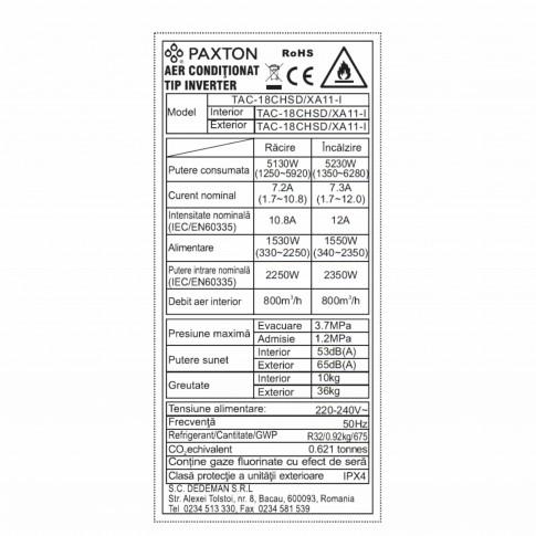 Aer conditionat inverter Paxton Wi-Fi 18000 BTU R32 + kit instalare