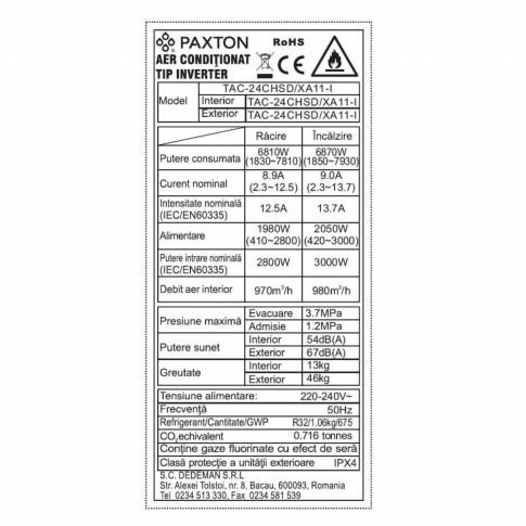Aer conditionat inverter Paxton Wi-Fi 24000 BTU R32 + kit instalare