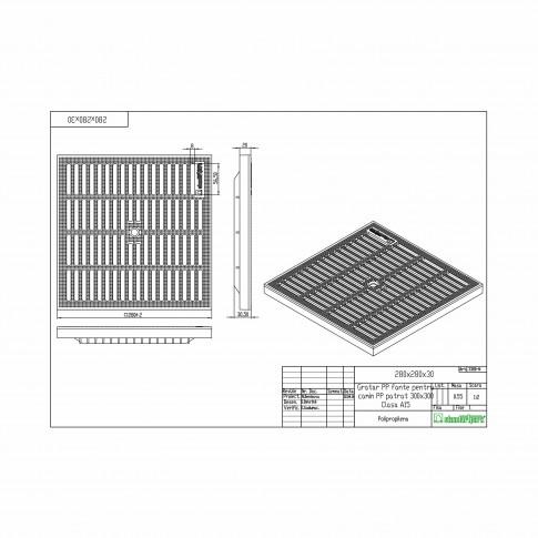 Kit camin patrat Basic, PP, A15, 300 x 300 mm