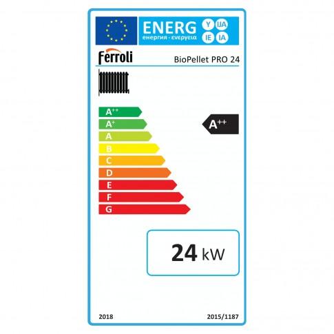 Cazan termic pe peleti Ferroli Biopellet Pro, cu ardere normala, din otel, 24 kW