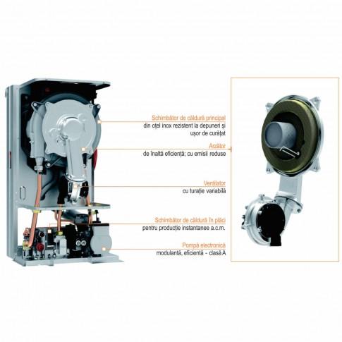 Centrala termica pe gaz, cu condensare, Ferroli Bluehelix Prima 24C, 21.8 kW, fara kit evacuare