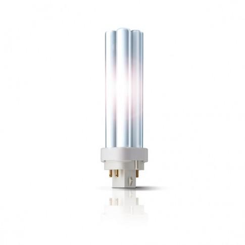 Bec economic Philips Master PL-C 4P tubular G24q-1 13W 900lm lumina calda 3000 K, compatibil cu droser dimabil