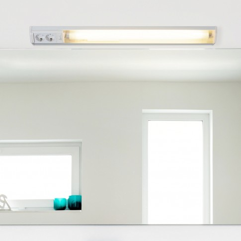 Corp de iluminat pentru baie cu priza si intrerupator Bath 2323, 1 x G13, T8, 18W, lumina calda 2700 K, IP20