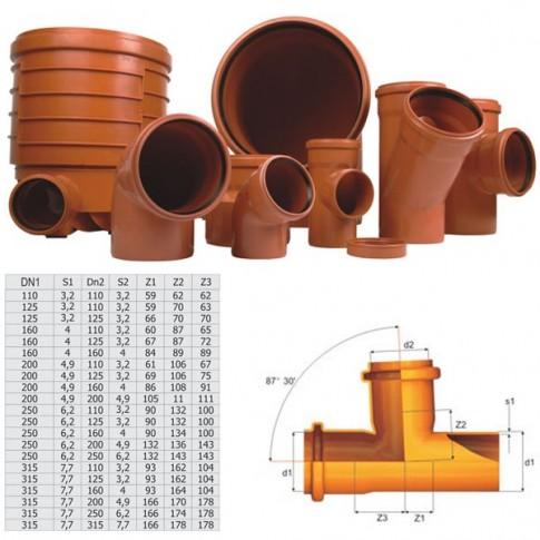 Ramificatie PVC cu inel, 250 x 250 x 87 mm