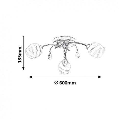 Plafoniera Mellisa 2621, 3 x E14, crom + alb