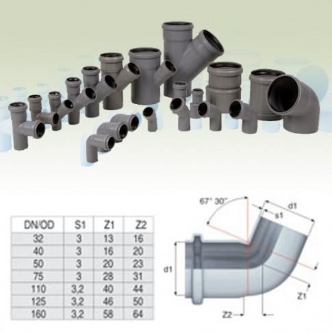 Cot PP HTB, pentru scurgere, D 32 mm, 67  grade