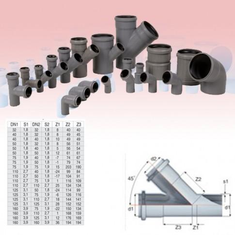Ramificatie PP HTEA, pentru scurgere, D 110 x 75 mm, 45 grade