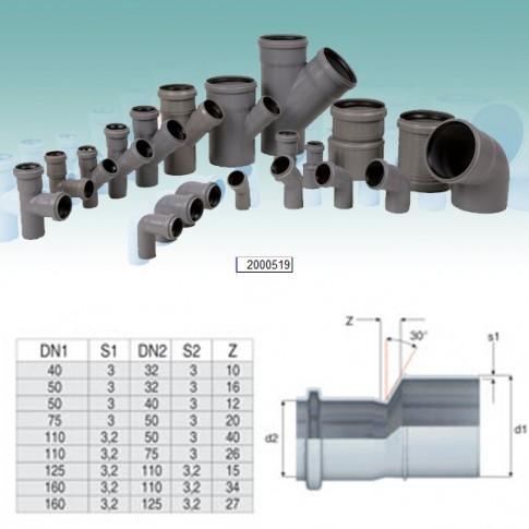 Reductie excentrica PP HTRA, pentru scurgere, D 50 mm - D 40 mm
