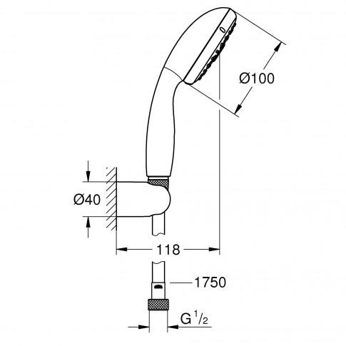Set dus para + furtun + suport fix, Grohe Vitalio Start 100 27957, 3 functii, 1.75 m
