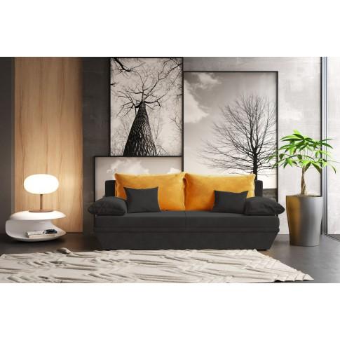 Canapea extensibila 3 locuri Alice, cu lada, negru + galben, 190 x 95 x 80 cm, 2C