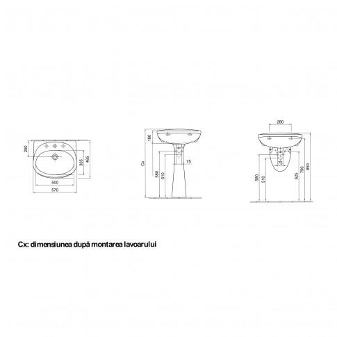 Lavoar Basic 4163 90 01, alb, rotunjit, 56 cm