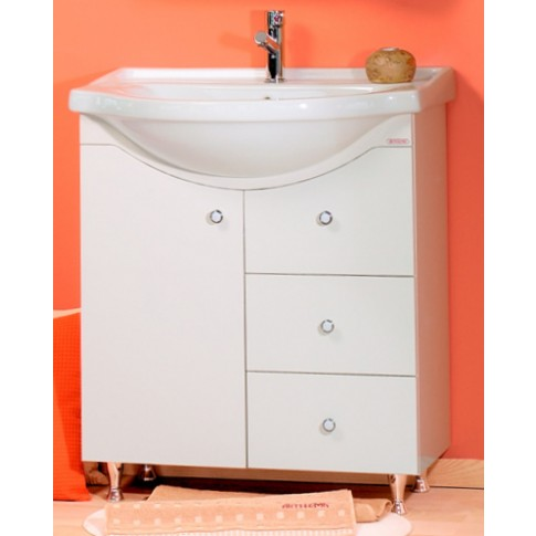 Masca baie pentru lavoar, Arthema Clasic Geo 120/PC-A2, cu sertare si usi, alba, 72.5 x 33 x 83.5 cm