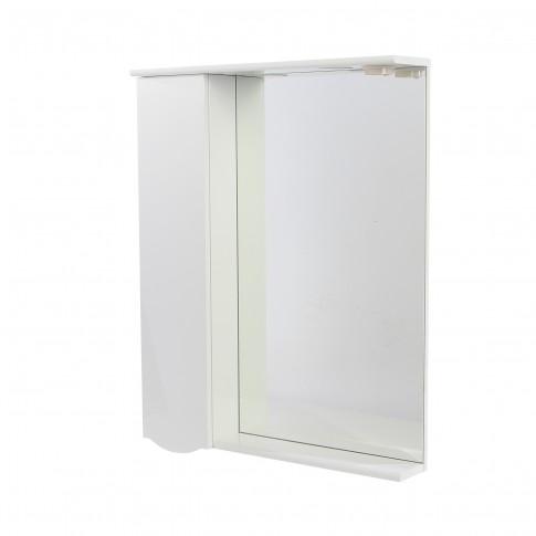 Dulap baie cu oglinda, iluminare si polita, 1 usa, stanga, Arthema Geo 121 - D - IN - A2, alb, 69.5 x 15.5 X 87 cm