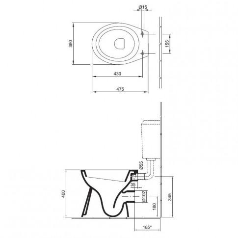 Vas WC Mondial Basic 4031 90 (92), alb, cu evacuare orizontala