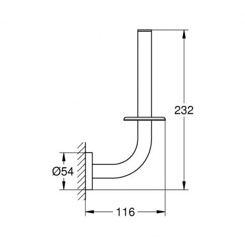 Suport pentru hartie igienica, Grohe Essentials 40385, fara clapeta, cromat, 23.2 x 11.6 cm