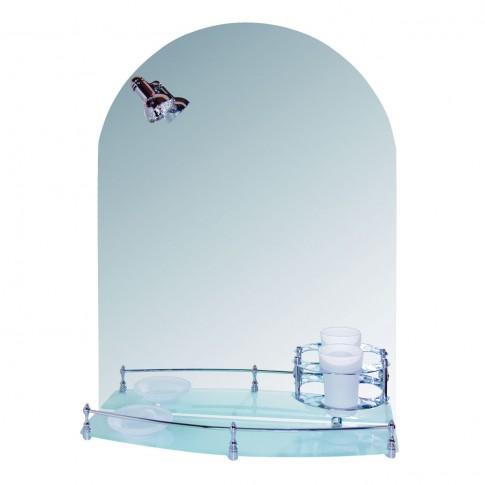 Oglinda baie Lider 923, cu iluminare, 50 x 70 cm, 1 etajera