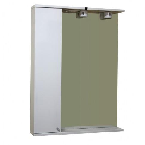 Dulap baie cu oglinda, iluminare si polita, 1 usa, stanga Martplast 630 / 840, alb, 63 x 13.6 x 84 cm