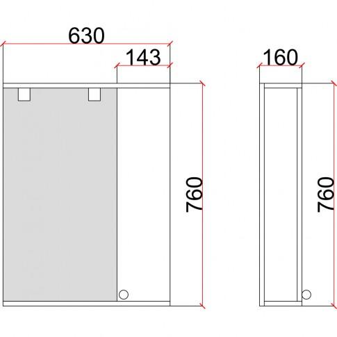Dulap baie cu oglinda, iluminare si polita, 1 usa, dreapta, Martplast 630 / 680, alb, 63 x 16 x 76 cm