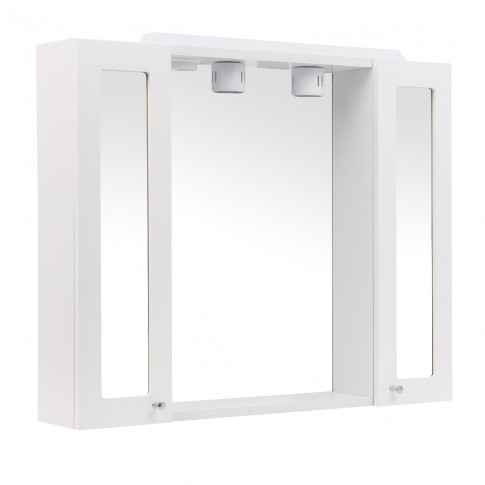 Dulap baie cu oglinda, iluminare si polita, 2 usi, Martplast, alb, 76 x 14 x 63 cm