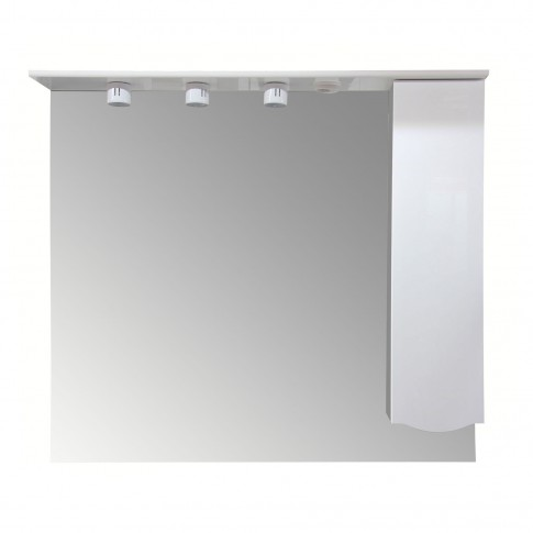 Dulap baie cu oglinda si iluminare, 1 usa, dreapta, Arthema Maya 451 - D - IN - A2, alb, 113 x 17.5 x 100 cm