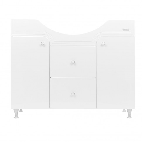 Masca baie pentru lavoar, Arthema Clasic Zenith 140/PC-A2, cu sertare si usi, alba, 100.5 x 33.5 x 83.5 cm