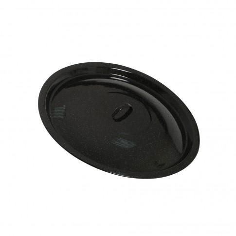 Capac emailat simplu, pentru ceaun 8 L, negru, D 32 cm
