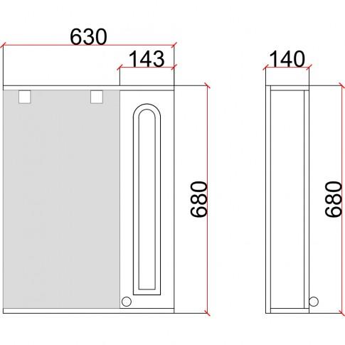 Dulap baie cu oglinda, iluminare si polita, 1 usa, dreapta, Martplast, bleu, 63 x 13.8 x 68 cm