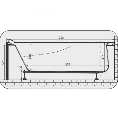 Cada baie cu hidromasaj rectangulara, Martplast Monaco, acril, 170 x 75 cm