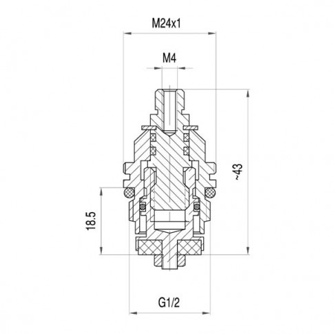 "Cap armatura pentru baterie cu dubla comanda, Ferro G02, 1/2 """