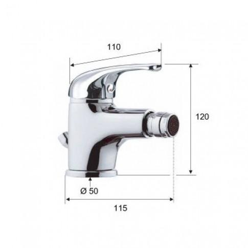 Baterie baie pentru bideu Remer Serie 35 F202, cu ventil, monocomanda, finisaj cromat