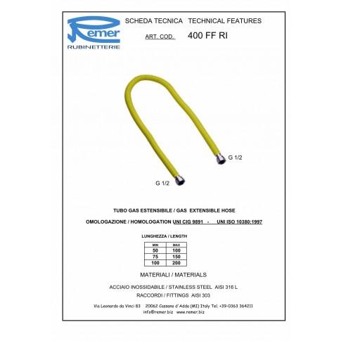 """Racord extensibil gaz, otel inoxidabil, 1/2"""", 1000-2000 mm, 400 FI-FI RI"""