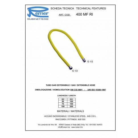 """Racord extensibil gaz, otel inoxidabil, 1/2 """", 500-1000 mm, 400 FE-FI RI"""