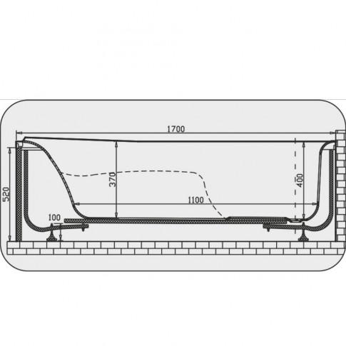 Cada baie cu hidromasaj rectangulara, Martplast Osaka, acril, 170 x 70 cm