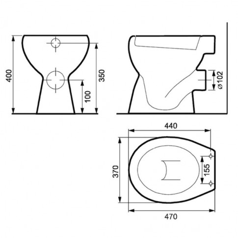 Vas WC Cersanit Roma R10 K07-015, alb, cu evacuare orizontala